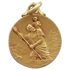 French St Christopher Gold Filled Medal - MAZZONI