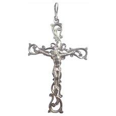 Art Nouveau 800 Silver Crucifix Pendant