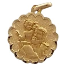 French 18K Gold St Christopher Medal or Pendant