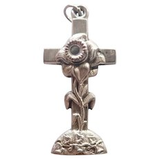 French Art Nouveau Silver Cross with Stanhope