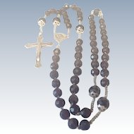 French 1906 Silver and Garnet Glass Rosary