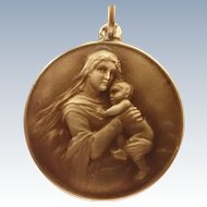 Silver Enamel Madonna and Child Double Sided Medal