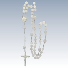 French Antique Translucent Agate and Silver Rosary with Reliquary