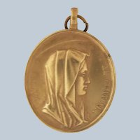 French 19C Copper Mary and Jesus Medal
