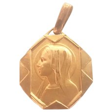 French Art Deco Small Gold Filled Mary Medal or Charm