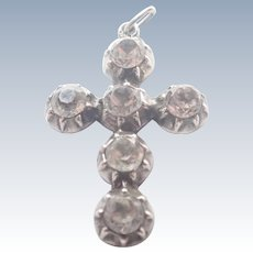 French Victorian Silver and Pastes Cross Pendant