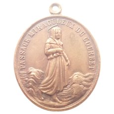 French Saint Germaine and Pius 1X  Copper  Medal