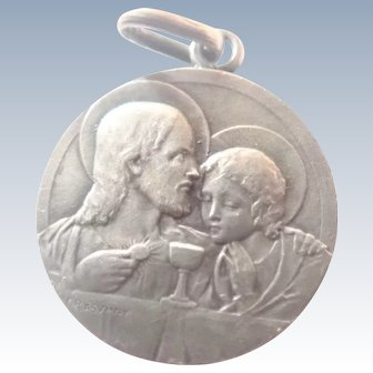French Silver Last Supper Communion  Medal - F RASUMNY