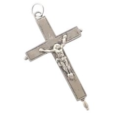French 19C Silver Double Sided Reliquary Crucifix