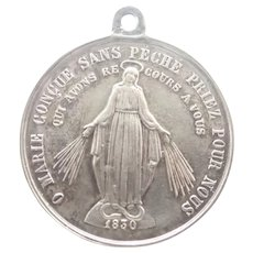 French Silver 19C Miraculous Medal