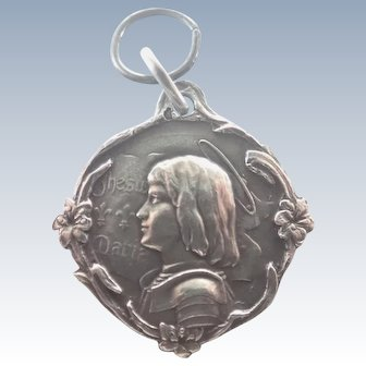French Art Nouveau Joan of Arc Silver Medal/Pendant