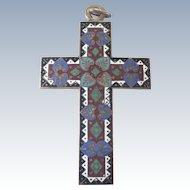 French Victorian Cloisonné Enamel Large Cross