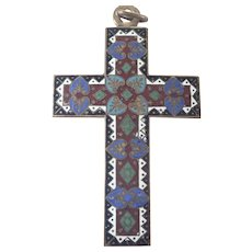 French Victorian Cloisonné Enamel Large Cross