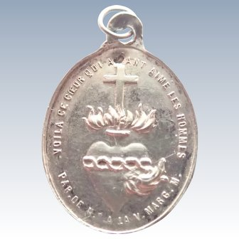 French Silver 19C Sacred Heart Medal