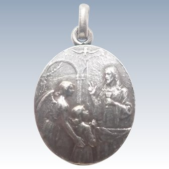 French Silver Guardian Angel Communion Medal - E DROPSY