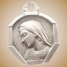 French Art Deco Silver Virgin Mary Medal Charm