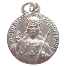 French Silver Jesus as King Silver Medal or Charm