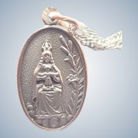 European Silver Vermeil Virgin and Child Medal Pendant with Chain