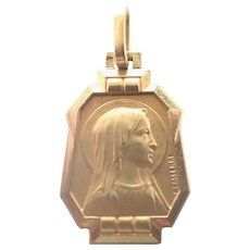 French Art Deco Gold Filled Mary Medal or Charm - R Lasserre