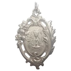 French Antique Silver Communion Medal - 1909