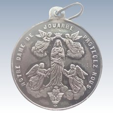 French 19C Silver Mary and Angels Silver Medal