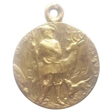 St Hubert and The Stag Gold Filled Medal