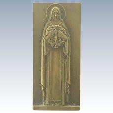 Art Deco French St. Thérèse Bronze Plaque -VEZIEN