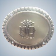 French Our Lady of Lourdes Silver and Mother of Pearl Pin