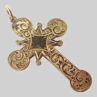 Victorian Gilt Metal Engraved Cross Pendant
