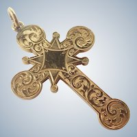 Victorian Gilt Metal Engraved Cross Pendant
