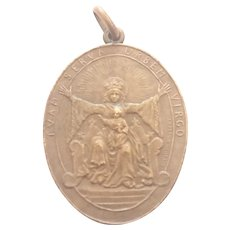French 1918 Virgin and Child Bronze Medal - Aline Lauth-Bossert