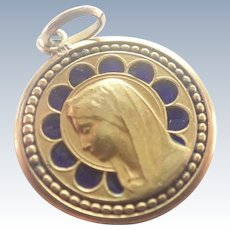 French Antique Gold Filled and Enamel Mary Lourdes Medal