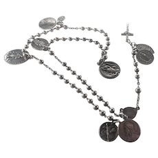 French Circa 1900 Silver Rosary with Medals