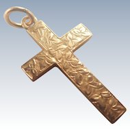 English 1901 9K Gold Engraved Cross