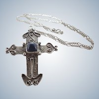 Scottish Sterling Silver Large Cross and Chain