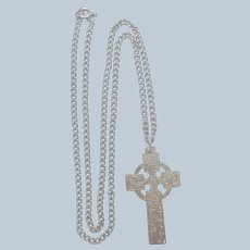 English Sterling Celtic Cross and Chain 1976