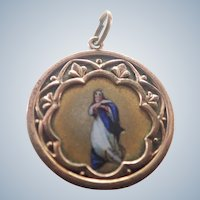 Victorian French Virgin Mary Enamel Medal/Pendant