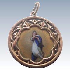 Victorian French Virgin Mary Enamel Medal/Pendant