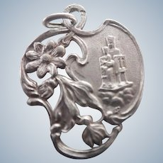 French Art Nouveau Silver Our Lady Medal