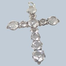 French Silver and Sparkling Pastes Cross Pendant