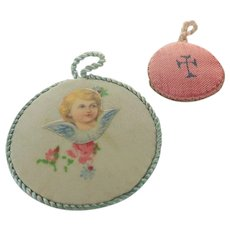 Art Deco French Fabric Pendants -Cherub and Cross