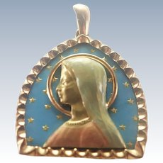 French 18K Gold and Enamel Virgin Mary Pendant