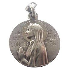 French Circa 1910 Silver Virgin Mary Medal