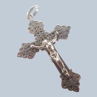 French Catholic Alliance Silvered Metal Crucifix