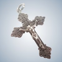 French Catholic Alliance Silvered Metal Crucifix