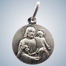 French Circa 1910 St Joseph and Jesus Silver Medal