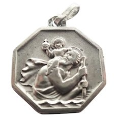 Art Deco French Silver St. Christopher Medal