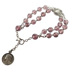 French Silver and Glass Beads Medallions Dizainier Bracelet