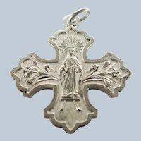 French Gothic Style Silver Mary Cross Medal
