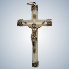 French Victorian Mother of Pearl Silver Gilt Crucifix